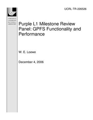 Primary view of object titled 'Purple L1 Milestone Review Panel GPFS Functionality and Performance'.