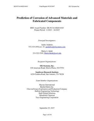 Primary view of object titled 'Prediction of Corrosion of Advanced Materials and Fabricated Components'.