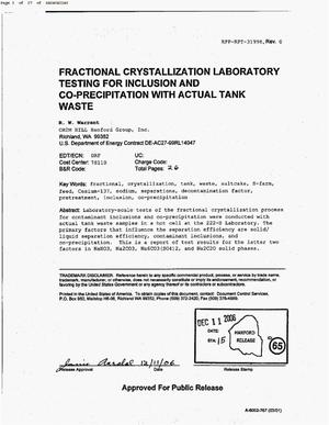 Primary view of object titled 'FRACTIONAL CRYSTALLIZATION LABORATORY TESTING FOR INCLUSION & COPRECIPITATION WITH ACTUAL TANK WASTE'.