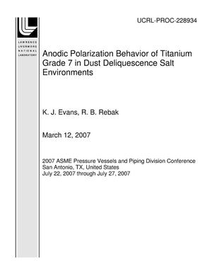 Primary view of object titled 'Anodic Polarization Behavior of Titanium Grade 7 in Dust Deliquescence Salt Environments'.
