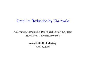 Primary view of object titled 'Uranium Reduction by Clostridia'.