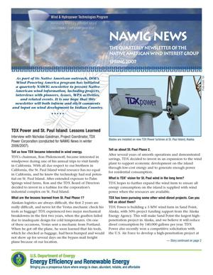 Primary view of object titled 'NAWIG News: The Native American Wind Interest Group Newsletter, Spring 2007'.