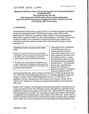 Primary view of object titled 'Making the Postclosure Safety Case for the Proposed Yucca Mountain Repository'.