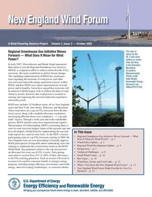 Primary view of object titled 'New England Wind Forum: A Wind Powering America Project, Volume 1, Issue 3 -- October 2007 (Newsletter)'.