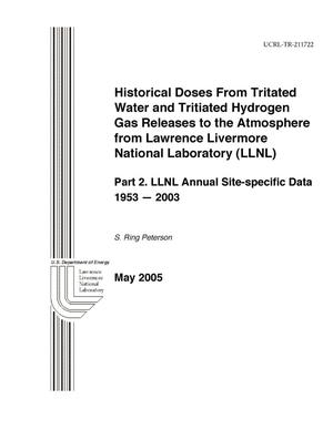Primary view of object titled 'Historical Doses from Tritiated Water and Tritiated Hydrogen Gas Released to the Atmosphere from Lawrence Livermore National Laboratory (LLNL). Part 2. LLNL Annual Site-specific Data, 1953 - 2003'.