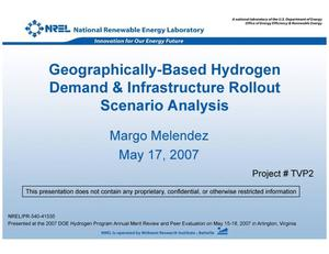 Primary view of object titled 'Geographically-Based Hydrogen Demand & Infrastructure Rollout Scenario Analysis (Presentation)'.