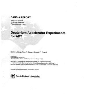 Primary view of object titled 'Deuterium accelerator experiments for APT.'.