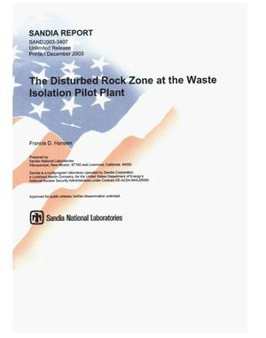 Primary view of object titled 'The disturbed rock zone at the Waste Isolation Pilot Plant.'.