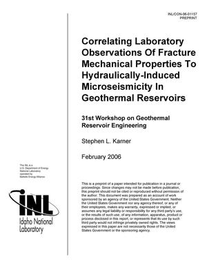 Primary view of object titled 'Correlating laboratory observations of fracture mechanical properties to hydraulically-induced microseismicity in geothermal reservoirs.'.