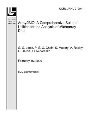 Primary view of object titled 'Array2BIO: A Comprehensive Suite of Utilities for the Analysis of Microarray Data'.