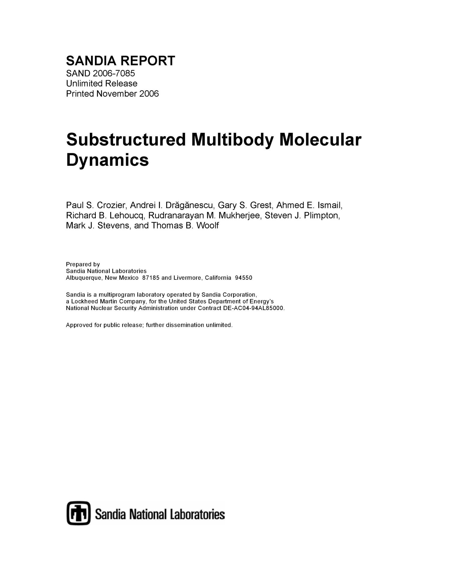 Substructured multibody molecular dynamics.                                                                                                      [Sequence #]: 1 of 107