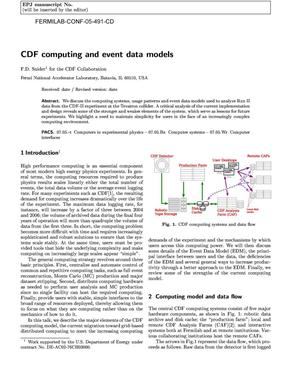 Primary view of object titled 'CDF computing and event data models'.