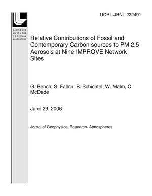 Primary view of object titled 'Relative Contributions of Fossil and Contemporary Carbon sources to PM 2.5 Aerosols at Nine IMPROVE Network Sites'.