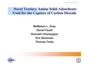 Primary view of object titled 'Novel Tertiary Amine Solid Adsorbents Used for the Capture of Carbon Dioxide'.