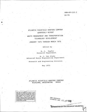 Primary view of object titled 'Waste Management and Transportation Technology Development. Quarterly report, January 1975--March 1975'.