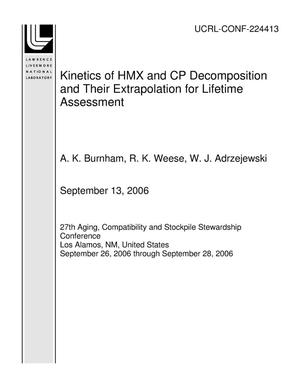 Primary view of object titled 'Kinetics of HMX and CP Decomposition and Their Extrapolation for Lifetime Assessment'.