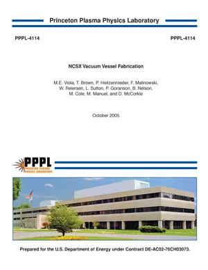Primary view of object titled 'NCSX Vacuum Vessel Fabrication'.