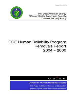 Primary view of object titled 'DOE Human Reliability Program Removals Report 2004-2006'.