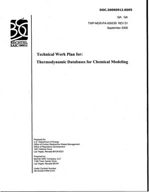 Primary view of object titled 'Technical Work Plan for: Thermodynamic Database for Chemical Modeling'.