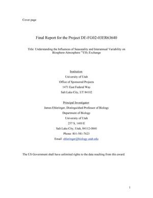 Primary view of object titled 'Final Report for Award DE-FG02-03ER63640'.