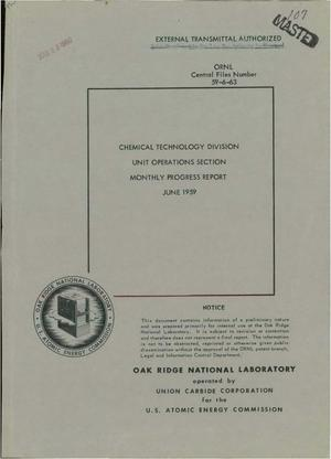 Primary view of object titled 'CHEMICAL TECHNOLOGY DIVISION, UNIT OPERATIONS SECTION MONTHLY PROGRESS REPORT FOR JUNE 1959'.