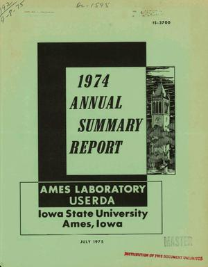 Primary view of object titled '1974 annual summary report'.