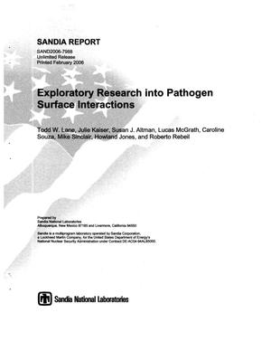 Primary view of object titled 'Exploratory research into pathogen surface interactions.'.