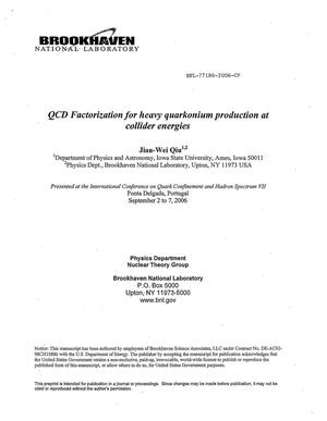 Primary view of object titled 'QCD FACTORIZATION FOR HEAVY QUARKONIUM PRODUCTION AT COLLIDER ENERGIES.'.