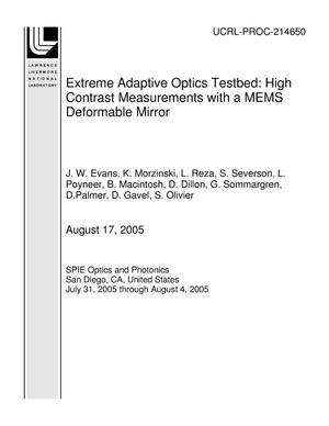 Primary view of object titled 'Extreme Adaptive Optics Testbed: High Contrast Measurements with a MEMS Deformable Mirror'.