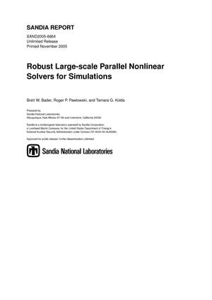 Primary view of object titled 'Robust large-scale parallel nonlinear solvers for simulations.'.
