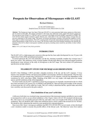 Primary view of object titled 'Prospects for Observations of Microquasars with GLAST'.