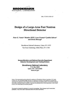 Primary view of object titled 'DESIGN OF A LARGE-AREA FAST NEUTRON DIRECTIONAL DETECTOR.'.