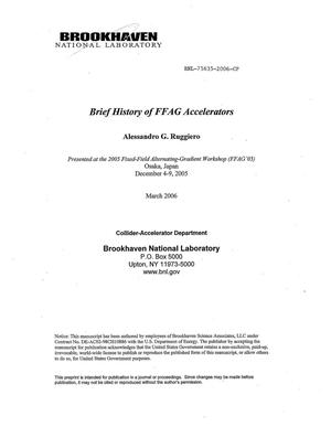 Primary view of object titled 'BRIEF HISTORY OF FFAG ACCELERATORS.'.