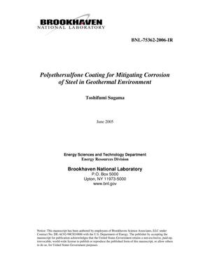 Primary view of object titled 'POLYETHERSULFONE COATING FOR MITIGATING CORROSION OF STEEL IN GEOTHERMAL ENVIRONMENT.'.
