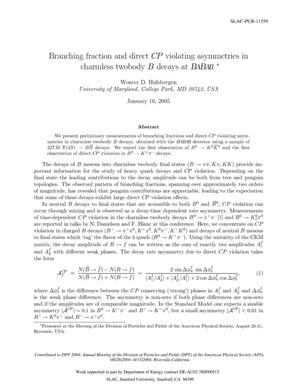 Primary view of object titled 'Branching Fraction And Direct CP Violating Asymmetries in Charmless Twobody B Decays at BaBar'.