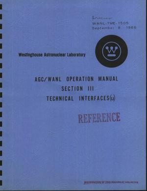 Primary view of object titled 'AGC/WANL operation manual. Section III. Technical interfaces'.