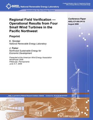 Primary view of object titled 'Regional Field Verification -- Operational Results from Four Small Wind Turbines in the Pacific Northwest: Preprint'.