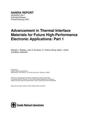 Primary view of object titled 'Advancement in thermal interface materials for future high-performance electronic applications. Part 1.'.