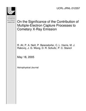 Primary view of object titled 'On the Significance of the Contribution of Multiple-Electron Capture Processes to Cometary X-Ray Emission'.