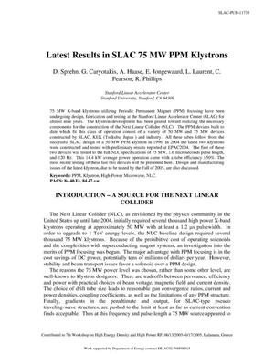 Primary view of object titled 'Latest Results in SLAC 75-MW PPM Klystrons'.