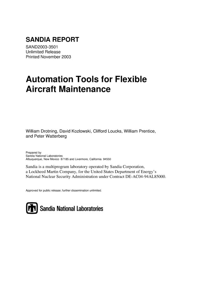 Automation tools for flexible aircraft maintenance