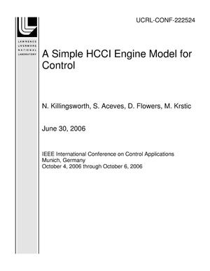 Primary view of object titled 'A Simple HCCI Engine Model for Control'.