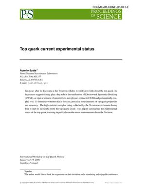 Primary view of object titled 'Top quark current experimental status'.
