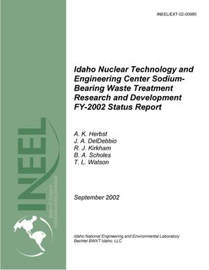 Primary view of object titled 'Idaho Nuclear Technology and Engineering Center Sodium-Bearing Waste Treatment Research and Development FY-2002 Status Report'.