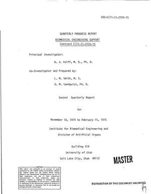 Primary view of object titled 'Biomedical engineering support. Quarterly progress report, November 16, 1974--February 15, 1975'.