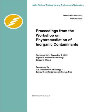 Primary view of object titled 'Proceedings from the Workshop on Phytoremediation of Inorganic Contaminants'.