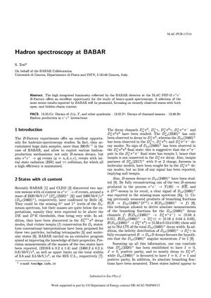Primary view of object titled 'Hadron Spectroscopy at BaBar'.