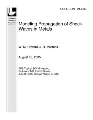 Primary view of object titled 'Modeling Propagation of Shock Waves in Metals'.