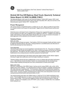 Primary view of object titled 'Hybrid 320 Ton Off Highway Haul Truck: Quarterly Technical Status Report 13'.