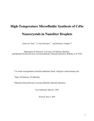Primary view of object titled 'High-Temperature Microfluidic Synthesis of CdSe Nanocrystals inNanoliter Droplets'.